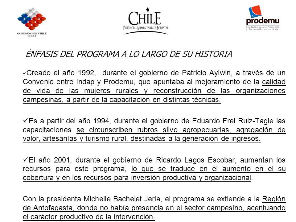 ÉNFASIS DEL PROGRAMA A LO LARGO DE SU HISTORIA Creado el año 1992, durante el gobierno de Patricio Aylwin, a través de un Convenio entre Indap y Prode
