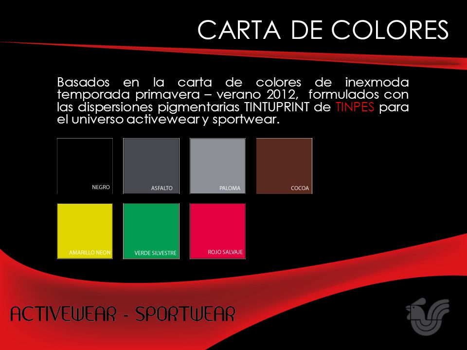 Basados en la carta de colores de inexmoda temporada primavera – verano 2012, formulados con las dispersiones pigmentarias TINTUPRINT de TINPES para el universo activewear y sportwear.