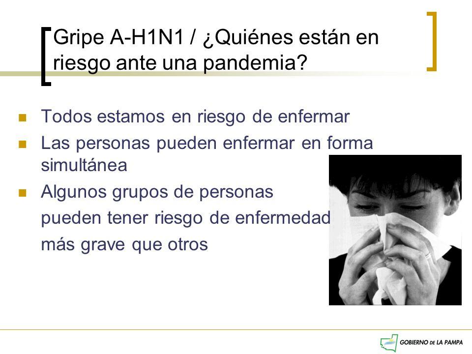Gripe A-H1N1 / ¿Quiénes están en riesgo ante una pandemia? Todos estamos en riesgo de enfermar Las personas pueden enfermar en forma simultánea Alguno