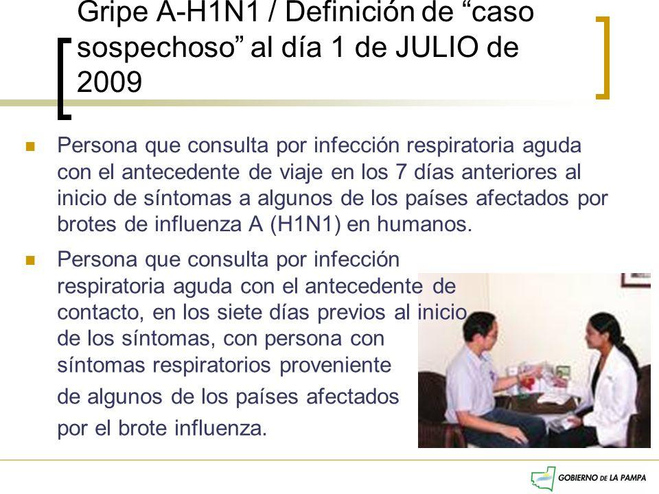 Gripe A-H1N1 / Definición de caso sospechoso al día 1 de JULIO de 2009 Persona que consulta por infección respiratoria aguda con el antecedente de via