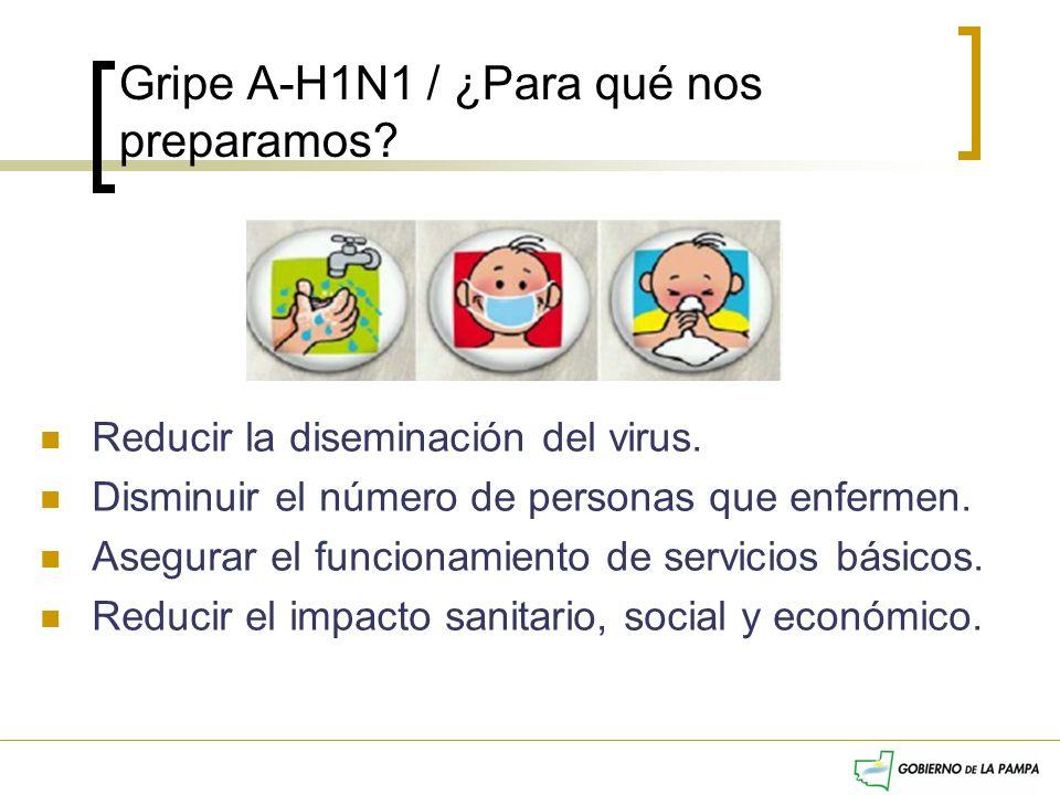 Gripe A-H1N1 / ¿Para qué nos preparamos? Reducir la diseminación del virus. Disminuir el número de personas que enfermen. Asegurar el funcionamiento d