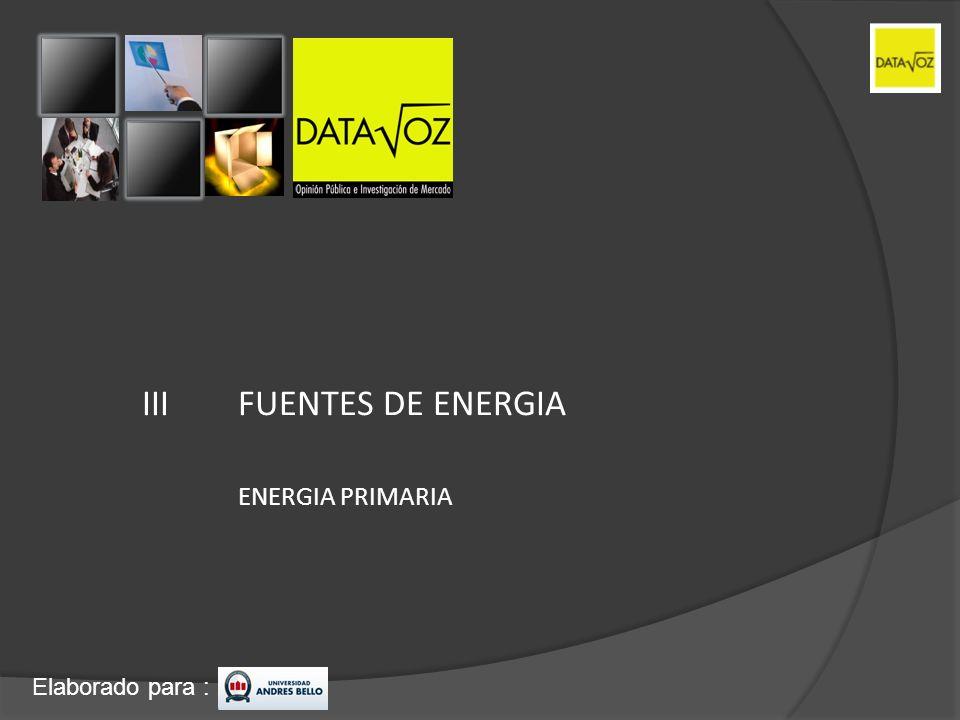 Elaborado para : III FUENTES DE ENERGIA ENERGIA PRIMARIA