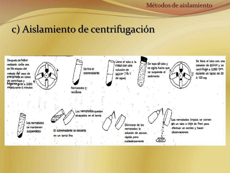 c) Aislamiento de centrifugación Métodos de aislamiento