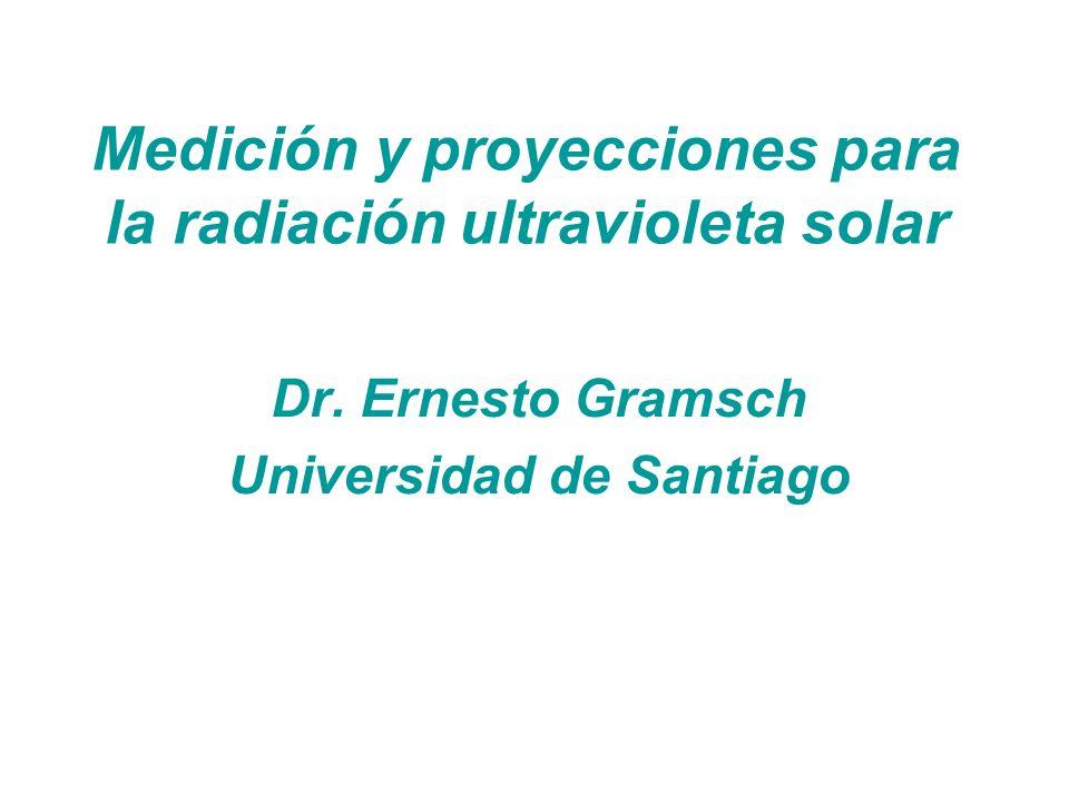 Medición y proyecciones para la radiación ultravioleta solar Dr. Ernesto Gramsch Universidad de Santiago