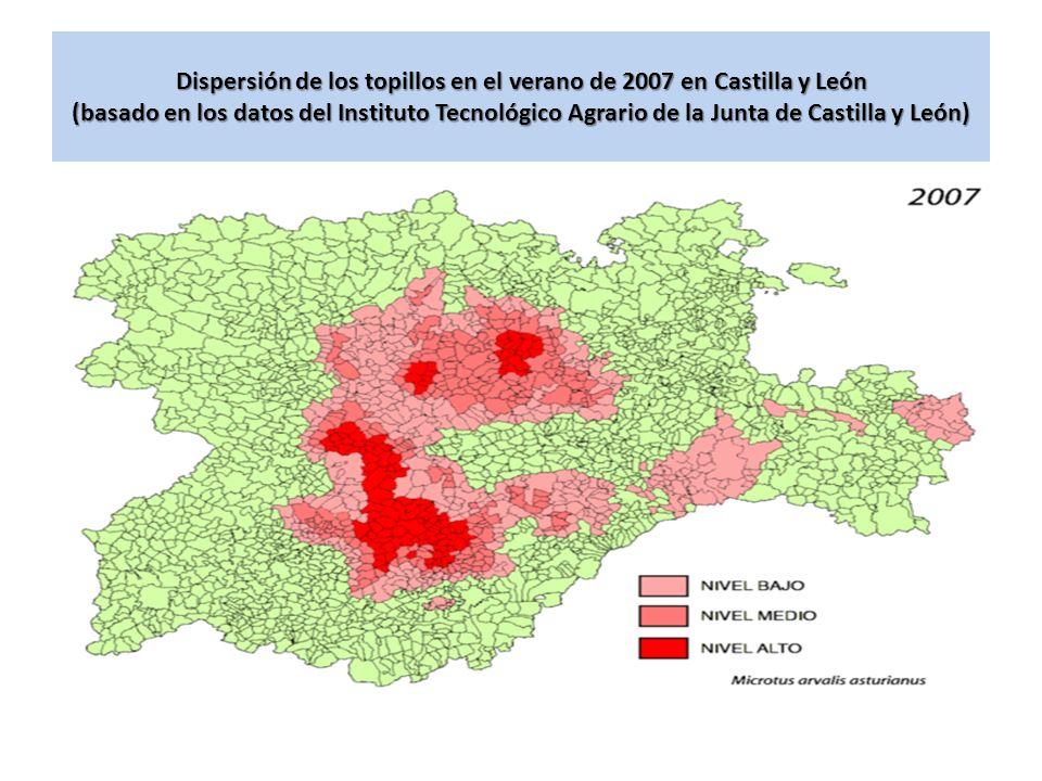 Dispersión de los topillos en el verano de 2007 en Castilla y León (basado en los datos del Instituto Tecnológico Agrario de la Junta de Castilla y Le