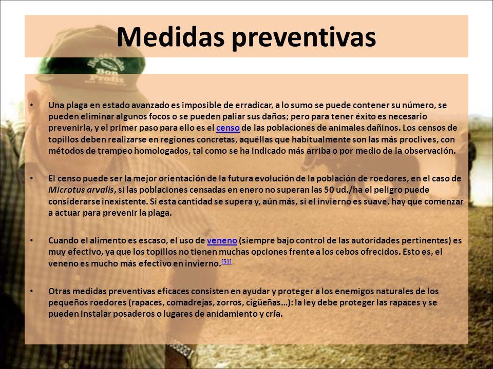 Medidas preventivas Una plaga en estado avanzado es imposible de erradicar, a lo sumo se puede contener su número, se pueden eliminar algunos focos o