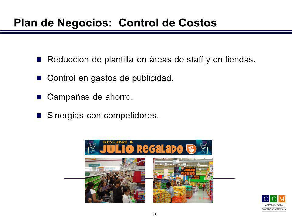 18 Plan de Negocios: Control de Costos Reducción de plantilla en áreas de staff y en tiendas.