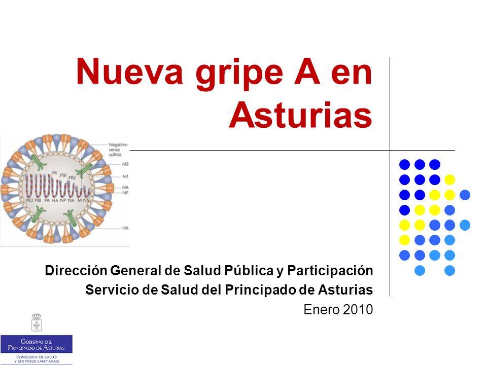Nueva gripe A en Asturias Dirección General de Salud Pública y Participación Servicio de Salud del Principado de Asturias Enero 2010