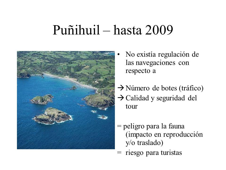 Puñihuil – hasta 2009 No existía regulación de las navegaciones con respecto a Número de botes (tráfico) Calidad y seguridad del tour = peligro para l