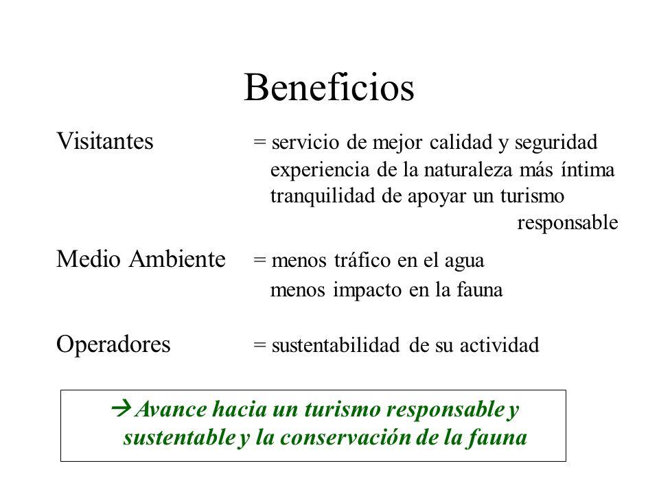 Beneficios Medio Ambiente = menos tráfico en el agua menos impacto en la fauna Avance hacia un turismo responsable y sustentable y la conservación de