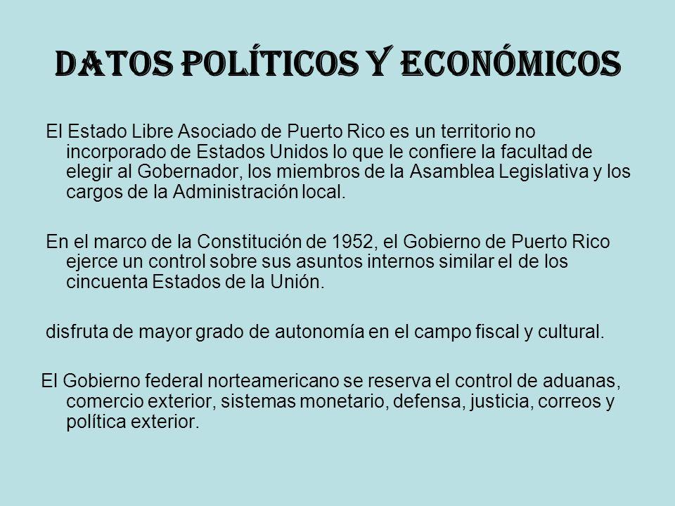 Datos políticos y económicos El Estado Libre Asociado de Puerto Rico es un territorio no incorporado de Estados Unidos lo que le confiere la facultad de elegir al Gobernador, los miembros de la Asamblea Legislativa y los cargos de la Administración local.