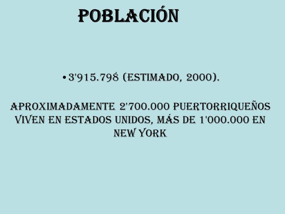 Población 3'915.798 (estimado, 2000). Aproximadamente 2'700.000 puertorriqueños viven en Estados Unidos, más de 1'000.000 en New York