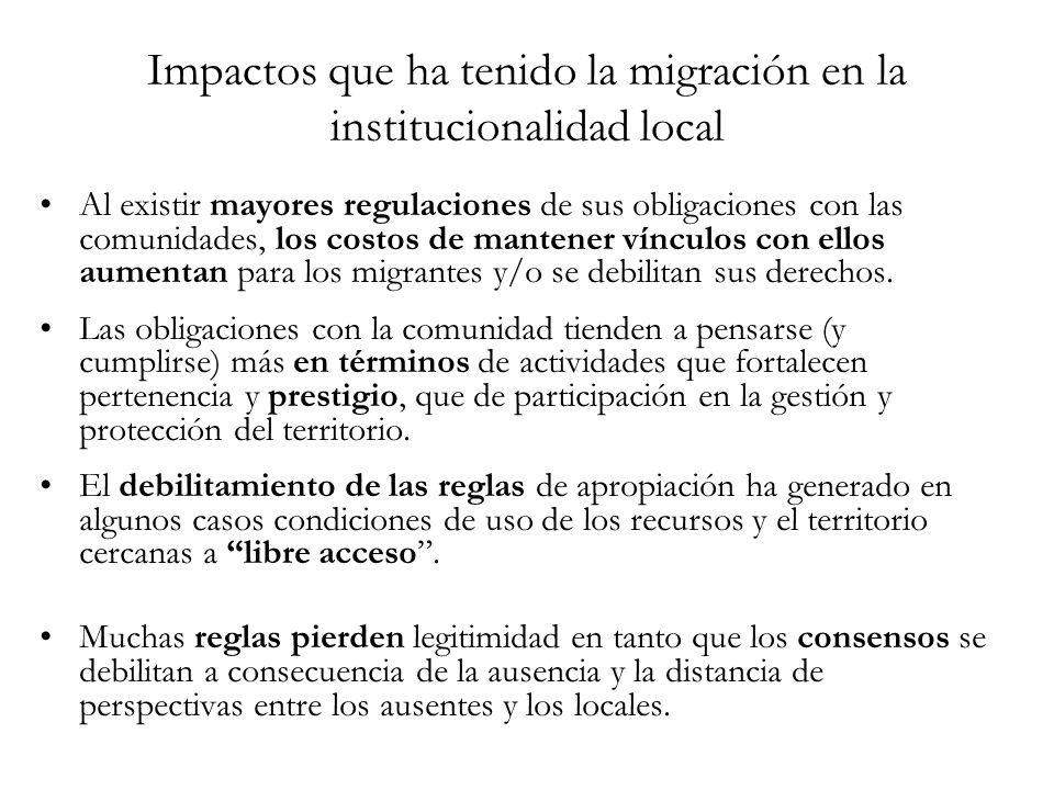 Impactos que ha tenido la migración en la institucionalidad local Al existir mayores regulaciones de sus obligaciones con las comunidades, los costos de mantener vínculos con ellos aumentan para los migrantes y/o se debilitan sus derechos.