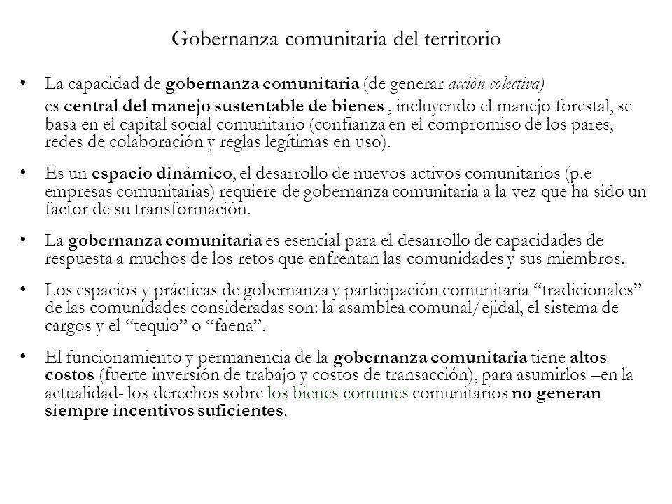 Gobernanza comunitaria del territorio La capacidad de gobernanza comunitaria (de generar acción colectiva) es central del manejo sustentable de bienes, incluyendo el manejo forestal, se basa en el capital social comunitario (confianza en el compromiso de los pares, redes de colaboración y reglas legítimas en uso).