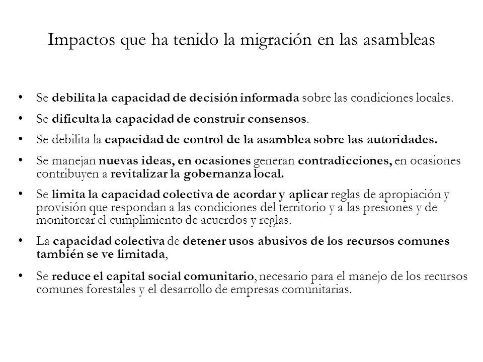 Impactos que ha tenido la migración en las asambleas Se debilita la capacidad de decisión informada sobre las condiciones locales.