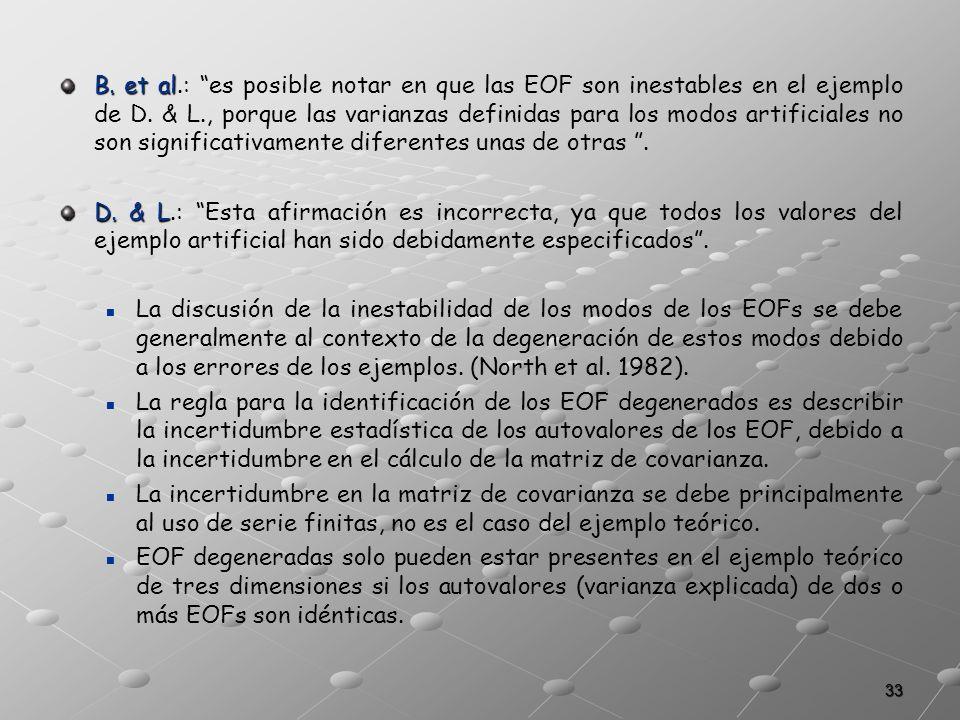 33 B. et al B. et al.: es posible notar en que las EOF son inestables en el ejemplo de D. & L., porque las varianzas definidas para los modos artifici