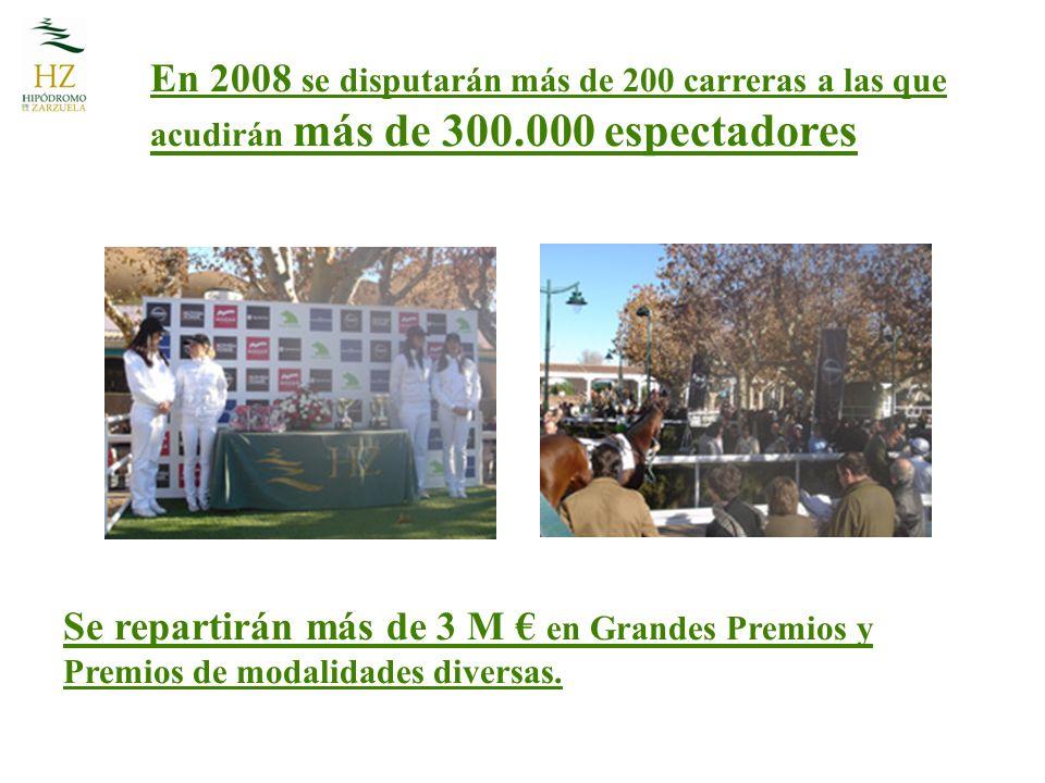 En 2008 se disputarán más de 200 carreras a las que acudirán más de 300.000 espectadores Se repartirán más de 3 M en Grandes Premios y Premios de modalidades diversas.