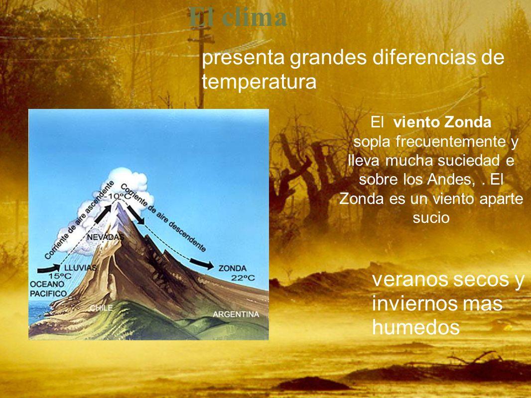 Relieve Es una region principalmente montañosa. Ahí se encuentra La Cordillera de los Andes de 6500m de altura Entre estas está el Aconcagua de 6962m.
