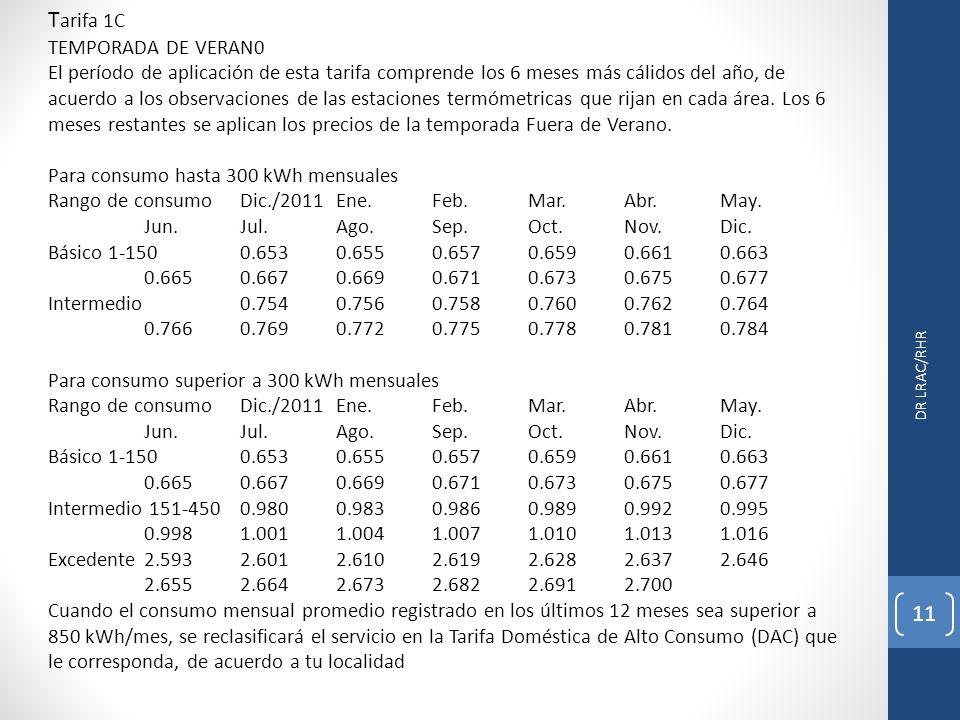 DR LRAC/RHR 11 T arifa 1C TEMPORADA DE VERAN0 El período de aplicación de esta tarifa comprende los 6 meses más cálidos del año, de acuerdo a los observaciones de las estaciones termómetricas que rijan en cada área.