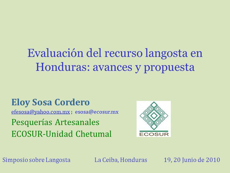 Evaluación del recurso langosta en Honduras: avances y propuesta Eloy Sosa Cordero efesosa@yahoo.com.mxefesosa@yahoo.com.mx ; esosa@ecosur.mx Pesquerí