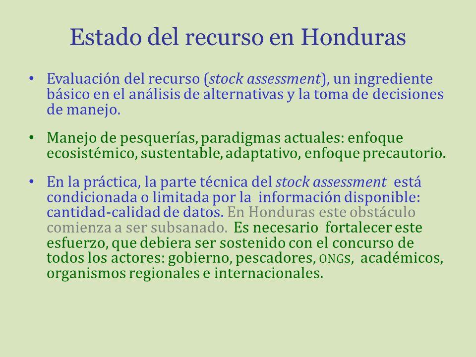 Estado del recurso en Honduras Evaluación del recurso (stock assessment), un ingrediente básico en el análisis de alternativas y la toma de decisiones