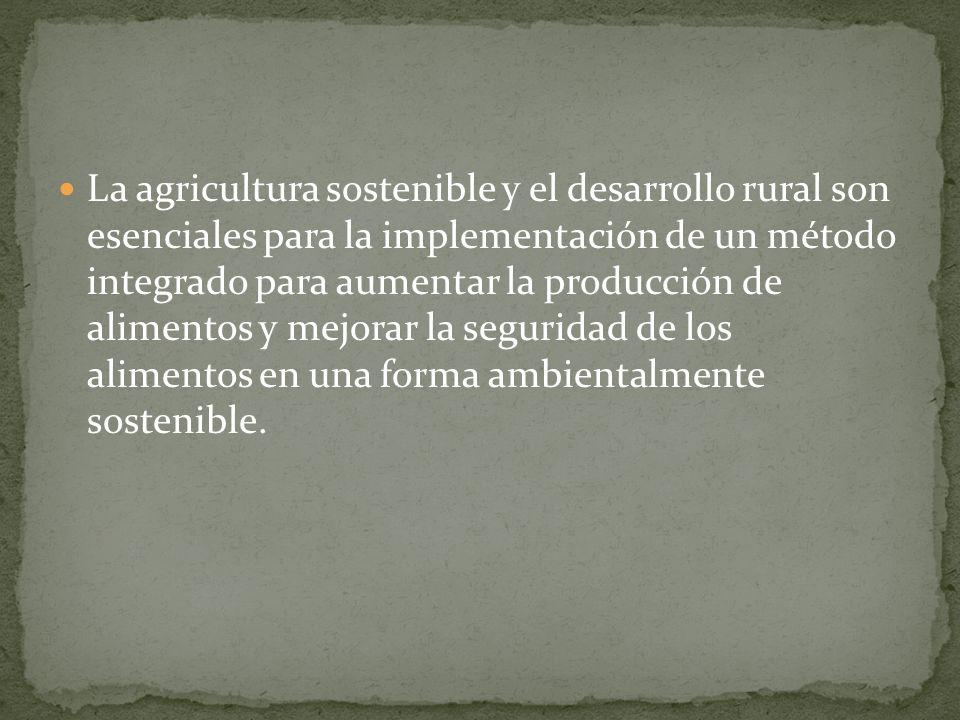 La agricultura sostenible y el desarrollo rural son esenciales para la implementación de un método integrado para aumentar la producción de alimentos