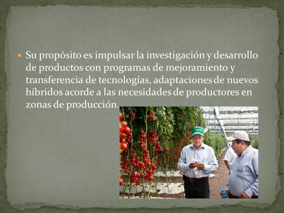 Su propósito es impulsar la investigación y desarrollo de productos con programas de mejoramiento y transferencia de tecnologías, adaptaciones de nuev
