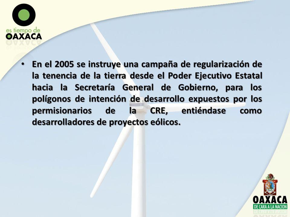 En el 2005 se instruye una campaña de regularización de la tenencia de la tierra desde el Poder Ejecutivo Estatal hacia la Secretaría General de Gobie