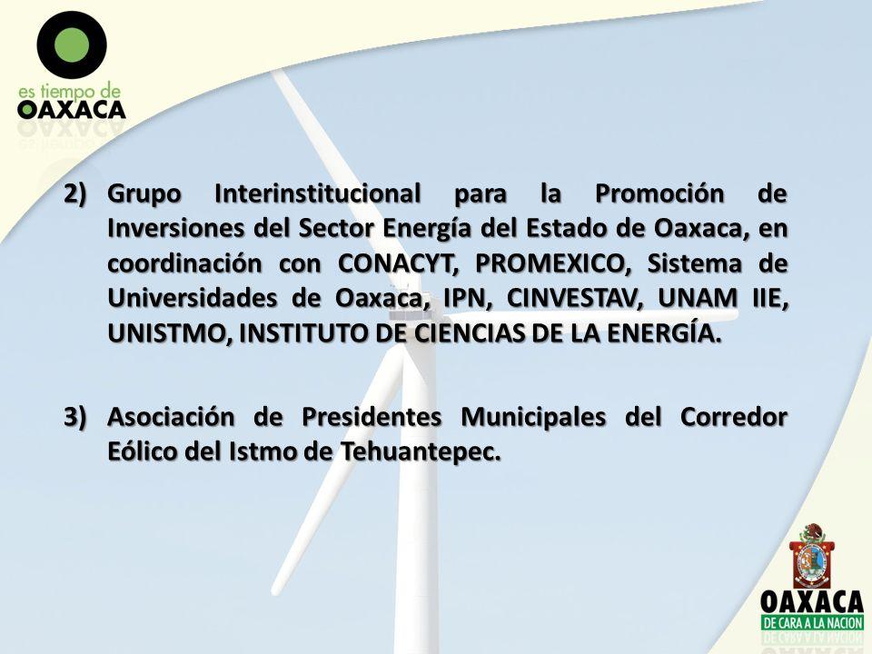 2)Grupo Interinstitucional para la Promoción de Inversiones del Sector Energía del Estado de Oaxaca, en coordinación con CONACYT, PROMEXICO, Sistema d