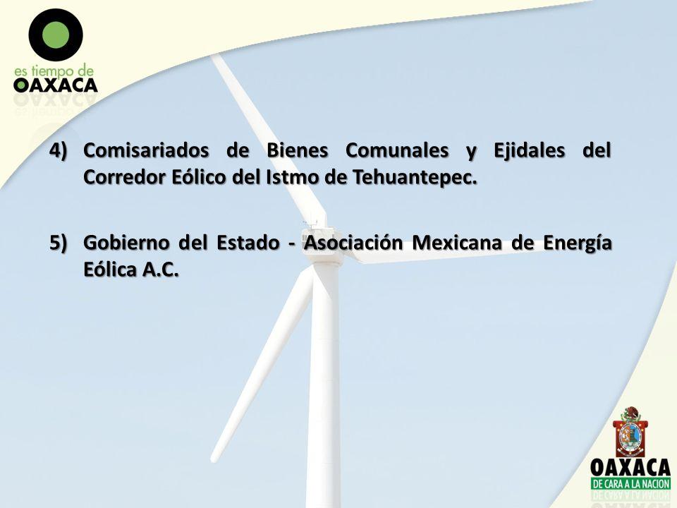 4)Comisariados de Bienes Comunales y Ejidales del Corredor Eólico del Istmo de Tehuantepec. 5)Gobierno del Estado - Asociación Mexicana de Energía Eól