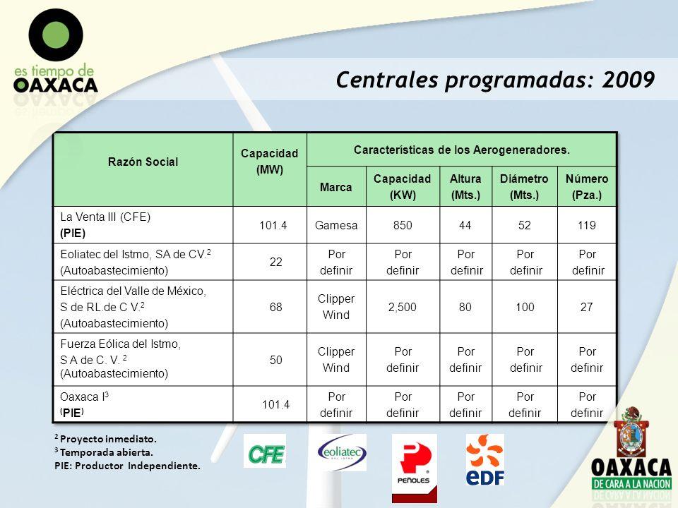 Centrales programadas: 2009 2 Proyecto inmediato. 3 Temporada abierta. PIE: Productor Independiente.