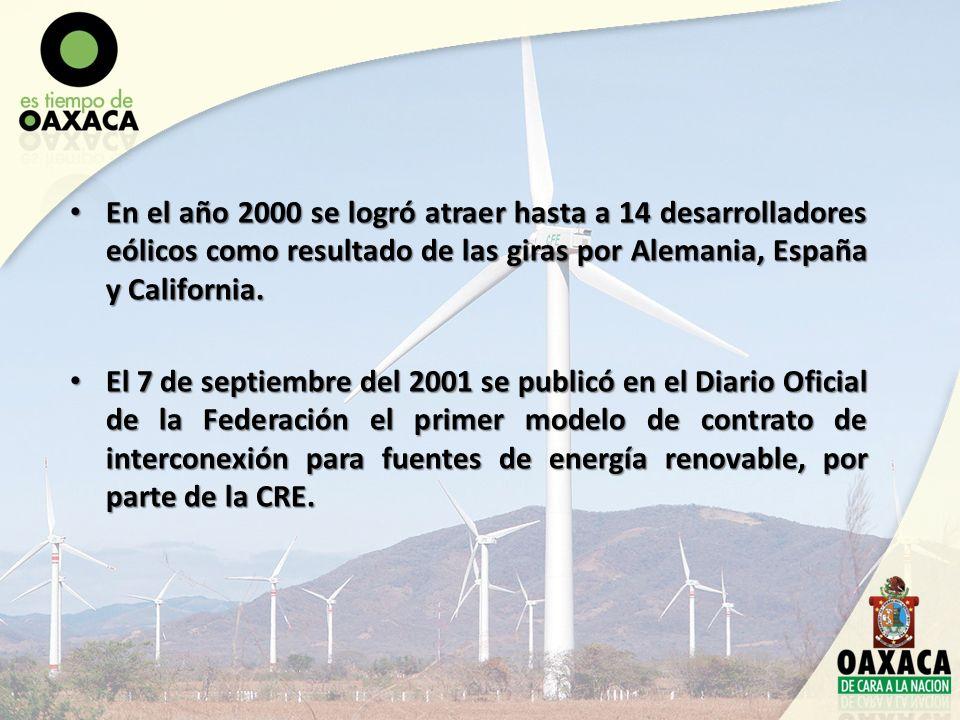 En el año 2000 se logró atraer hasta a 14 desarrolladores eólicos como resultado de las giras por Alemania, España y California. En el año 2000 se log