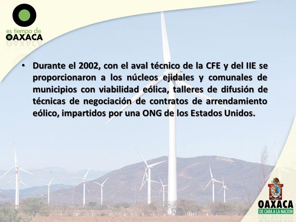 Durante el 2002, con el aval técnico de la CFE y del IIE se proporcionaron a los núcleos ejidales y comunales de municipios con viabilidad eólica, tal