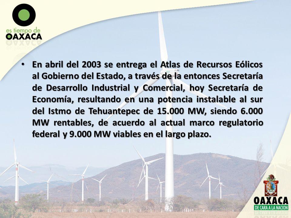En abril del 2003 se entrega el Atlas de Recursos Eólicos al Gobierno del Estado, a través de la entonces Secretaría de Desarrollo Industrial y Comerc