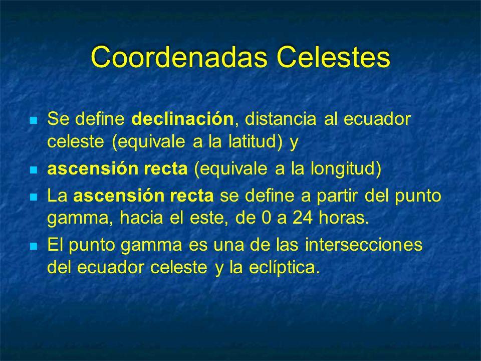 Coordenadas Celestes Se define declinación, distancia al ecuador celeste (equivale a la latitud) y ascensión recta (equivale a la longitud) La ascensión recta se define a partir del punto gamma, hacia el este, de 0 a 24 horas.