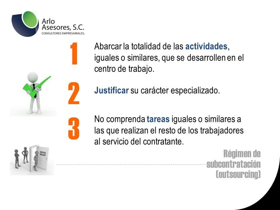 Régimen de subcontratación (outsourcing) Abarcar la totalidad de las actividades, iguales o similares, que se desarrollen en el centro de trabajo.