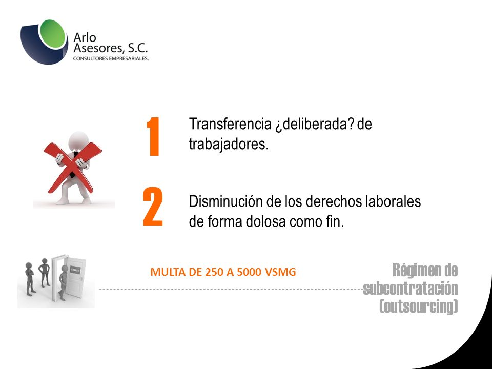 Régimen de subcontratación (outsourcing) Transferencia ¿deliberada.