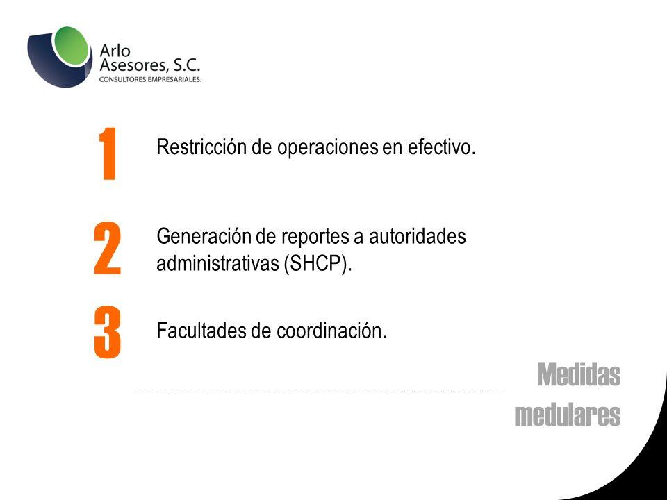 Medidas medulares Restricción de operaciones en efectivo.