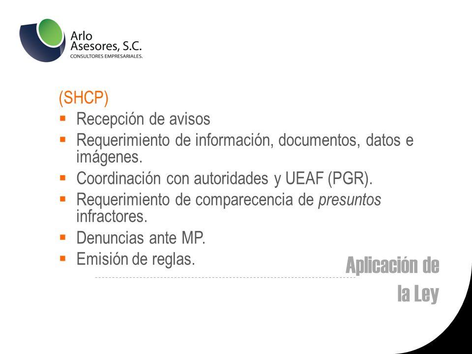 Aplicación de la Ley (SHCP) Recepción de avisos Requerimiento de información, documentos, datos e imágenes.