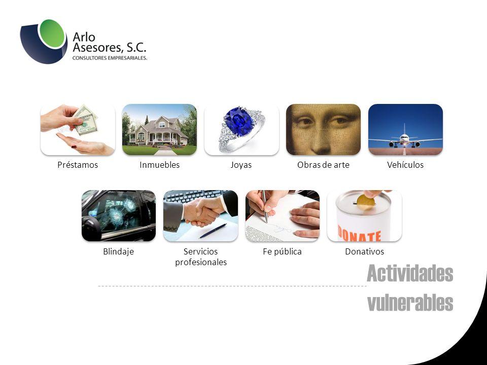 Actividades vulnerables PréstamosInmueblesJoyasObras de arteVehículos BlindajeServicios profesionales Fe públicaDonativos
