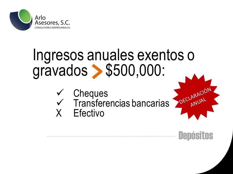 Depósitos Ingresos anuales exentos o gravados $500,000: Cheques Transferencias bancarias X Efectivo DECLARACIÓN ANUAL