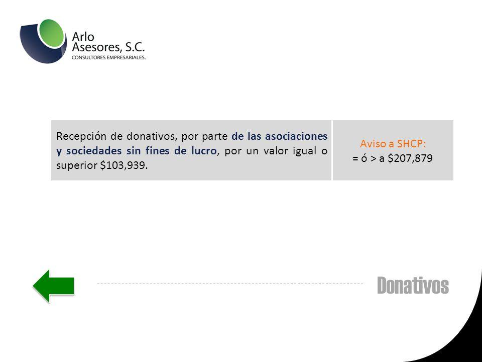 Donativos Recepción de donativos, por parte de las asociaciones y sociedades sin fines de lucro, por un valor igual o superior $103,939.