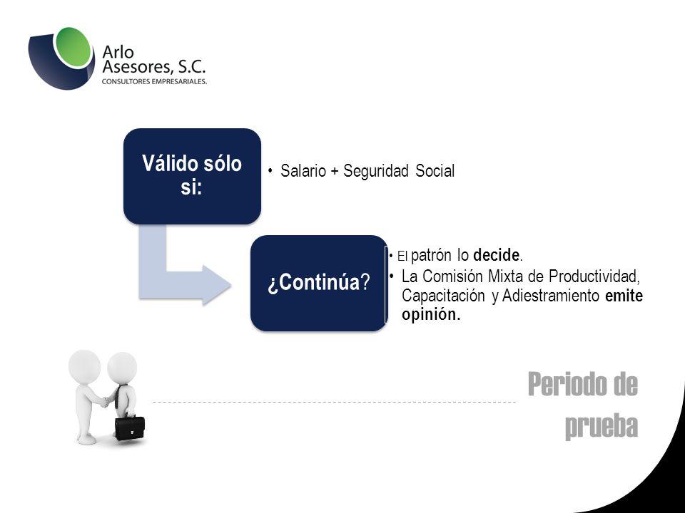 Periodo de prueba Válido sólo si: Salario + Seguridad Social ¿Continúa .