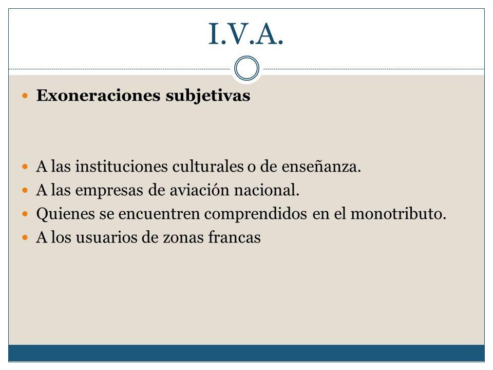 I.V.A. Exoneraciones subjetivas A las instituciones culturales o de enseñanza. A las empresas de aviación nacional. Quienes se encuentren comprendidos