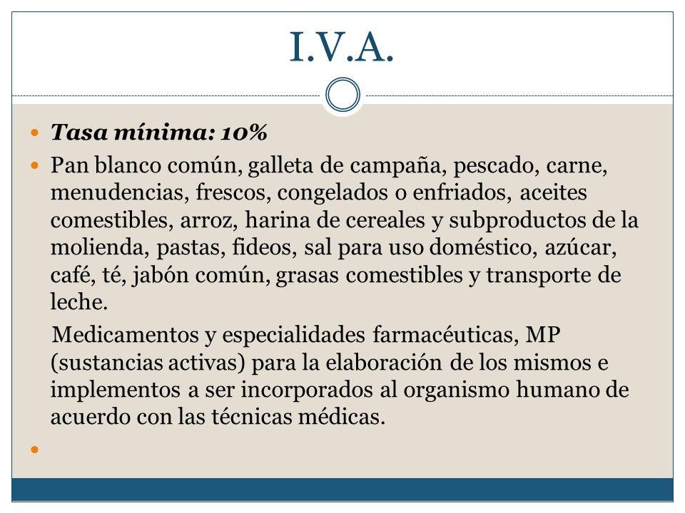 I.V.A. Tasa mínima: 10% Pan blanco común, galleta de campaña, pescado, carne, menudencias, frescos, congelados o enfriados, aceites comestibles, arroz
