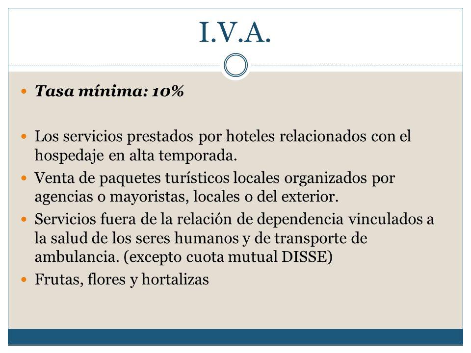 I.V.A. Tasa mínima: 10% Los servicios prestados por hoteles relacionados con el hospedaje en alta temporada. Venta de paquetes turísticos locales orga