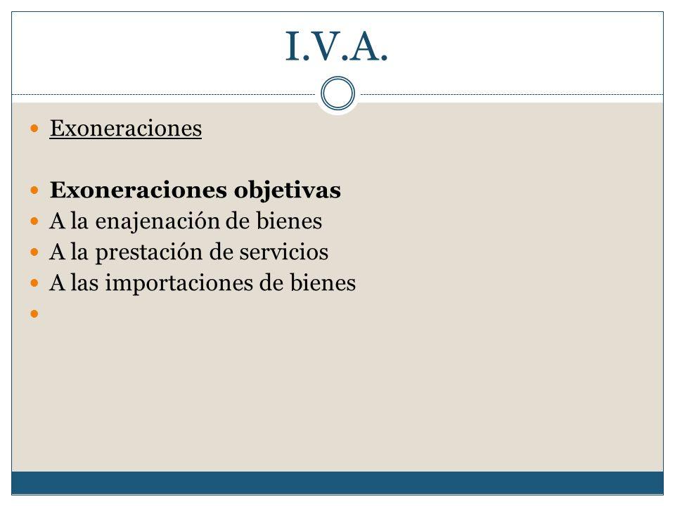 I.V.A. Exoneraciones Exoneraciones objetivas A la enajenación de bienes A la prestación de servicios A las importaciones de bienes