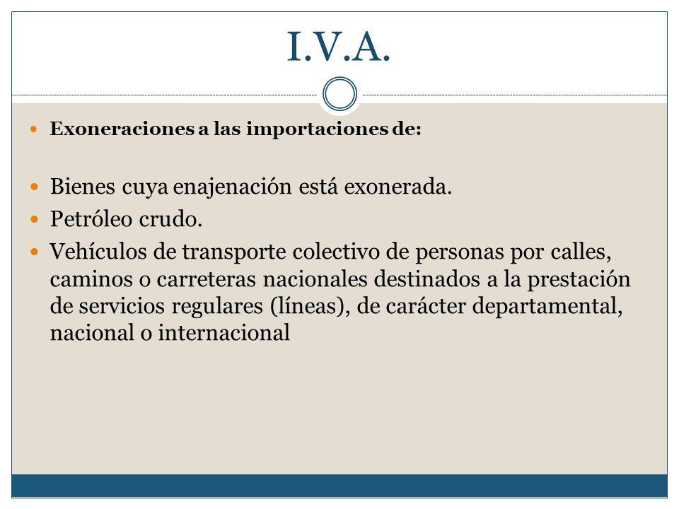 I.V.A. Exoneraciones a las importaciones de: Bienes cuya enajenación está exonerada. Petróleo crudo. Vehículos de transporte colectivo de personas por
