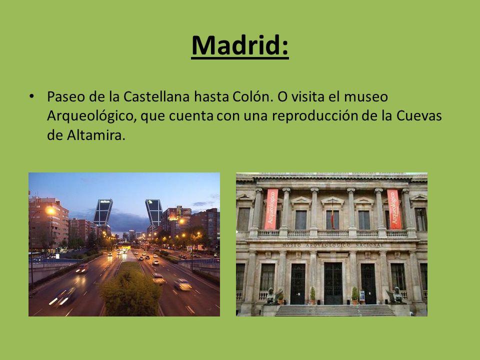 Madrid: Paseo de la Castellana hasta Colón. O visita el museo Arqueológico, que cuenta con una reproducción de la Cuevas de Altamira.