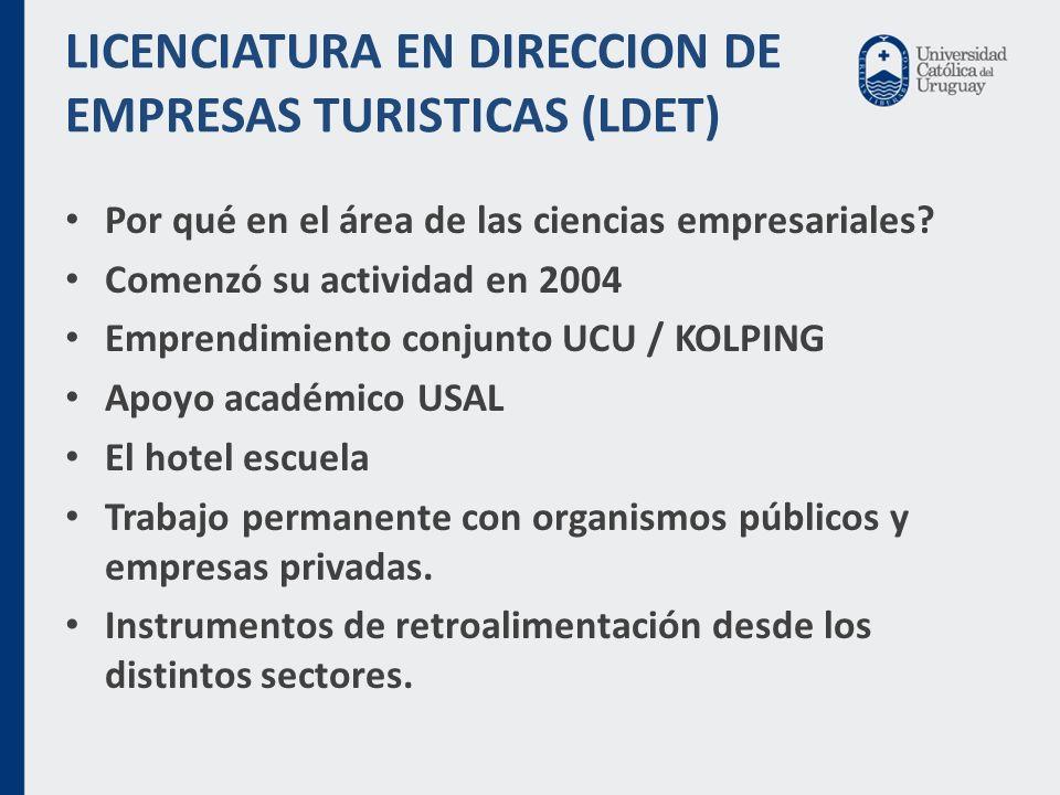 LICENCIATURA EN DIRECCION DE EMPRESAS TURISTICAS (LDET) Por qué en el área de las ciencias empresariales.